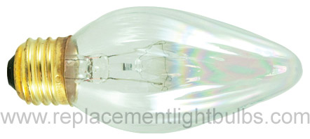 Bulbrite 40F15CL 130V 40W E26 Medium Screw Clear Flame Light Bulb, Replacement Lamp