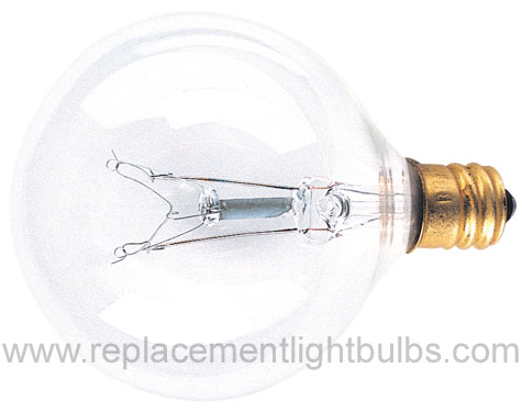 Bulbrite 120V 60W E12 Candelabra Screw Base G16.5 Clear Globe Glass Lamp, Replacement Light Bulb