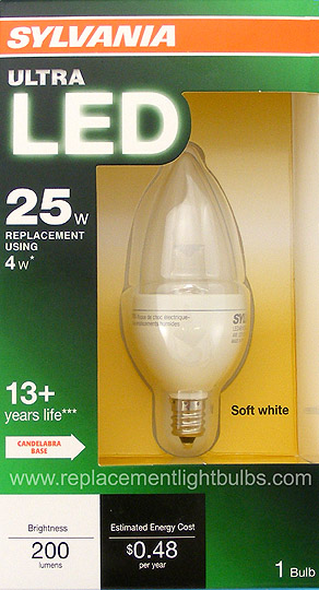 LED4B10C/BLUNT/DIM/827/G2/BL 4W Dimmable Blunt Tip LED Candle E12 2700K, Sylvania Replacement Light Bulb