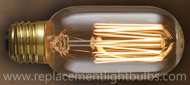 Nostalgic 40W 120V Antique T14 Thread Filament Replacement Light Bulb