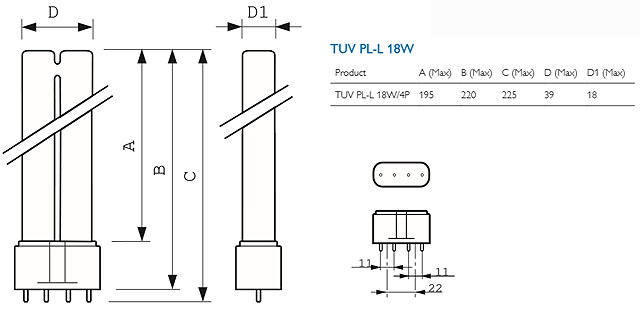 Philips TUV PL-L 18W/4P Germicidal Lamp